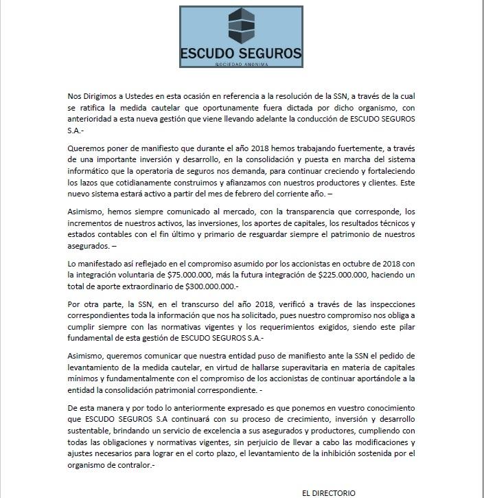 ESCUDO SEGUROS INFORMA 17-1-2019