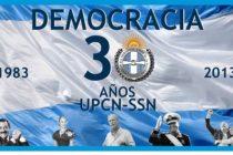 Democracia. 30 años y por 100 años más y que se repitan. El seguro la festeja, la sostiene.