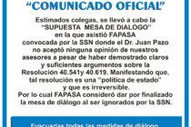 Comunicado oficial FAPASA: fracasó diálogo con SSN