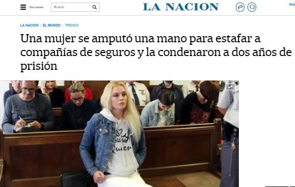Una mujer se amputó una mano para estafar a compañías de seguros y la condenaron a dos años de prisión. LA NACIÓN