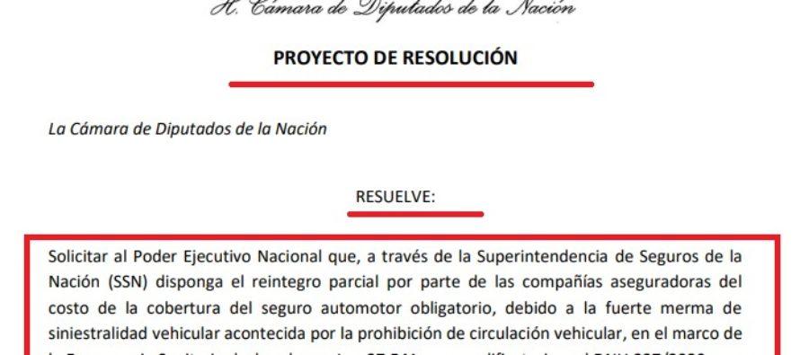 ¿Será Ley? Diputados (todos UCR) plantean devolver primas de Marzo hasta fin de Cuarentena al 80% de Vehículos Asegurados.