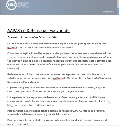 AAPAS en Defensa del Asegurado ¡Presentaciones contra Mercado Libre!